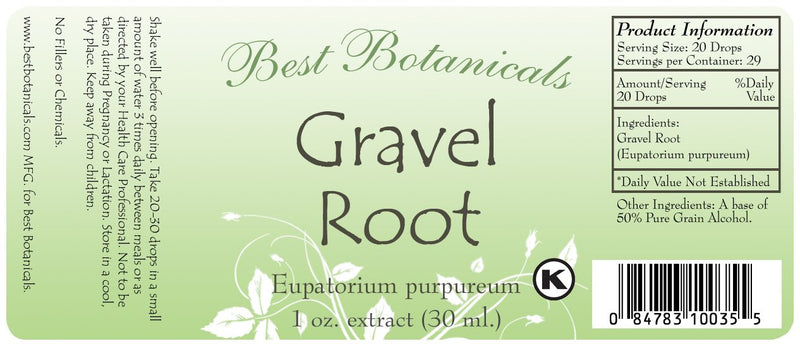Gravel Root Extract Label