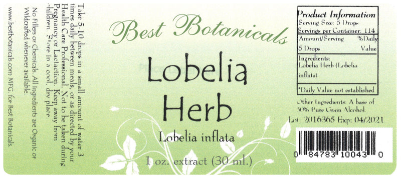 Lobelia Herb Extract Label