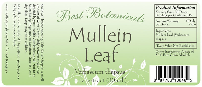 Mullein Leaf Extract Label