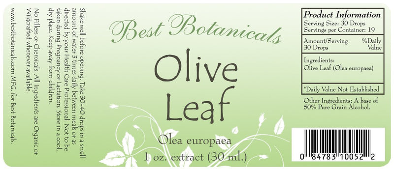 Olive Leaf Extract Label