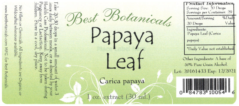 Papaya Leaf Extract Label