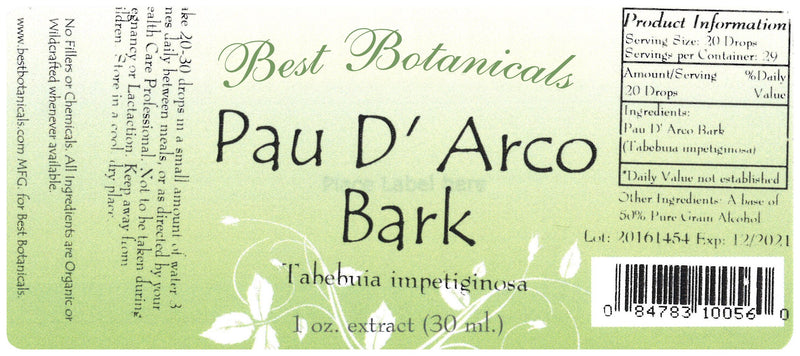 Pau D' Arco Bark Extract Label
