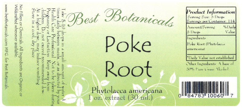 Poke Root Extract Label
