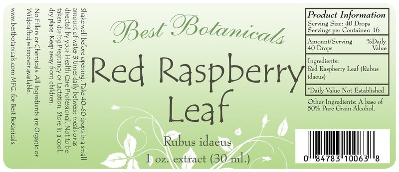 Red Raspberry Leaf Extract Label