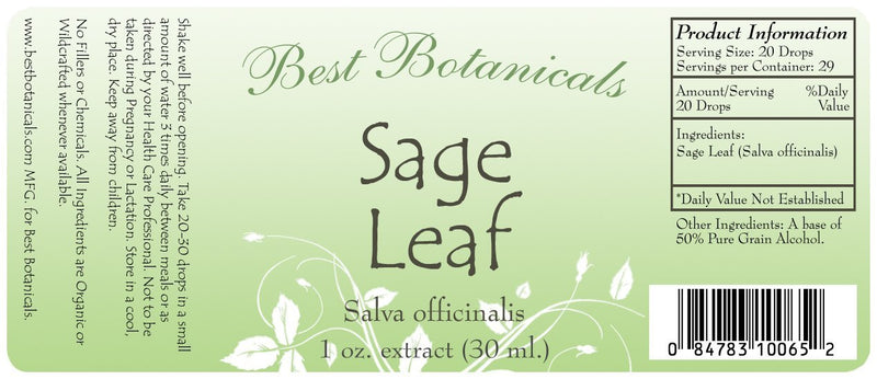 Sage Leaf Extract Label