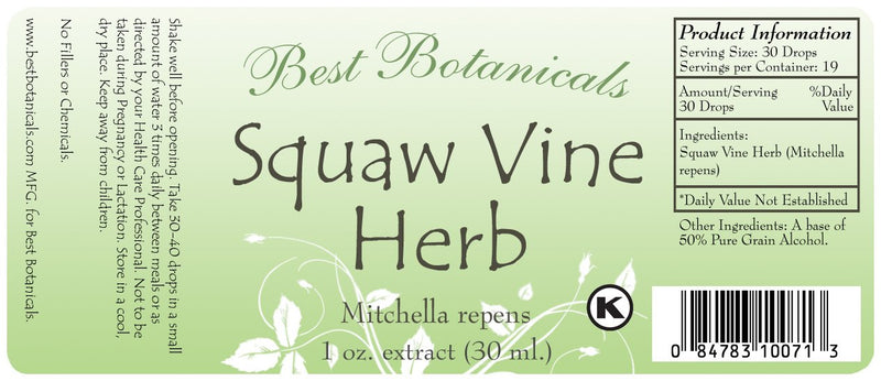 Squaw Vine Herb Extract Label