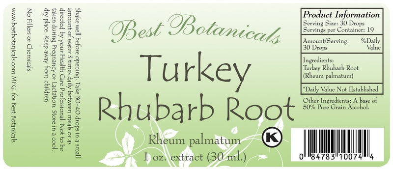 Turkey Rhubarb Root Extract Label