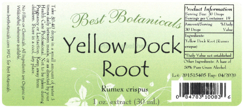 Yellow Dock Root Extract Label
