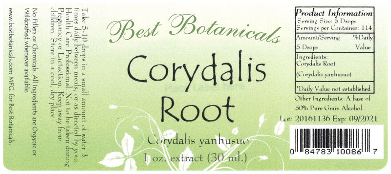Corydalis Root Extract Label