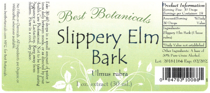 Slippery Elm Bark Extract Label