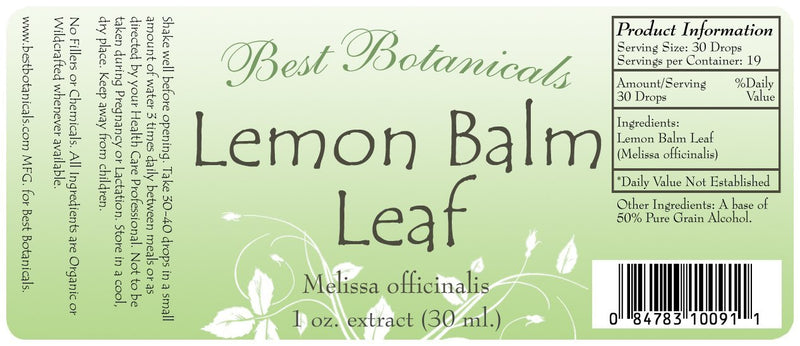 Lemon Balm Leaf Extract Label
