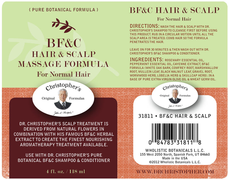 BF&C Hair & Scalp Massage Oil Label