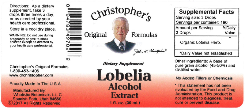 Lobelia Herb Alcohol Extract Label