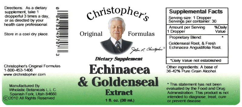 Echinacea & Goldenseal Extract Label