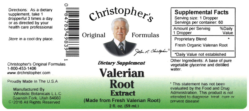 Valerian Root Extract Label