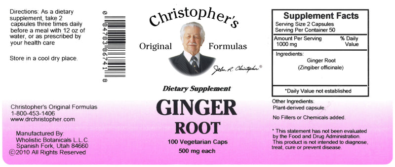 Ginger Root Capsule Label