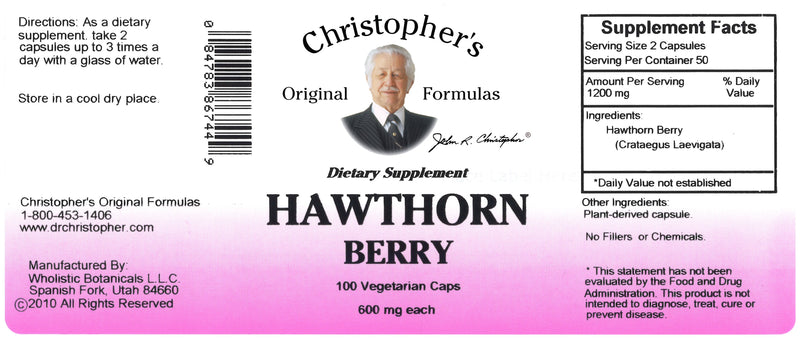 Hawthorn Berry Capsule Label