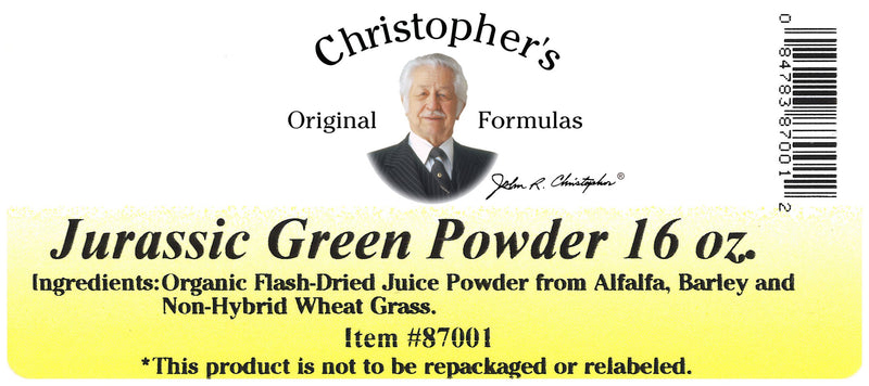 Jurassic Green Powder 16 oz. Label