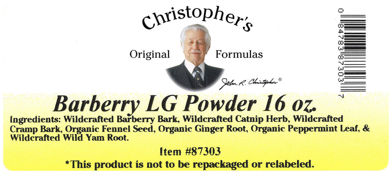 Barberry L.G. Powder Label