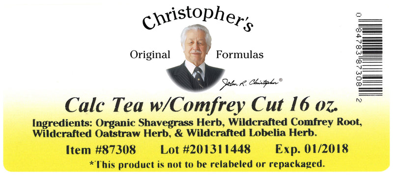 Calc Tea Cut Label