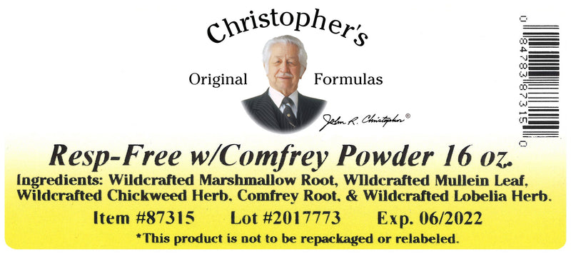 Resp-Free Powder Label