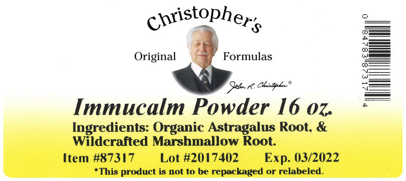 Immucalm Powder Label