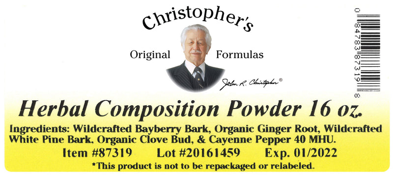 Herbal Composition Powder Label