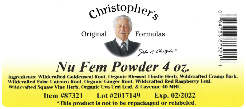 Nu Fem Powder Label