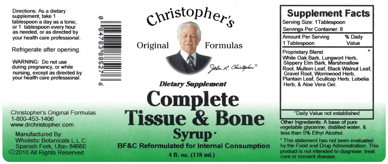 Complete Tissue & Bone Syrup 4 oz. Label