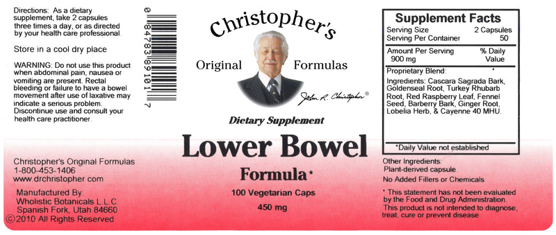 Lower Bowel Capsule Label