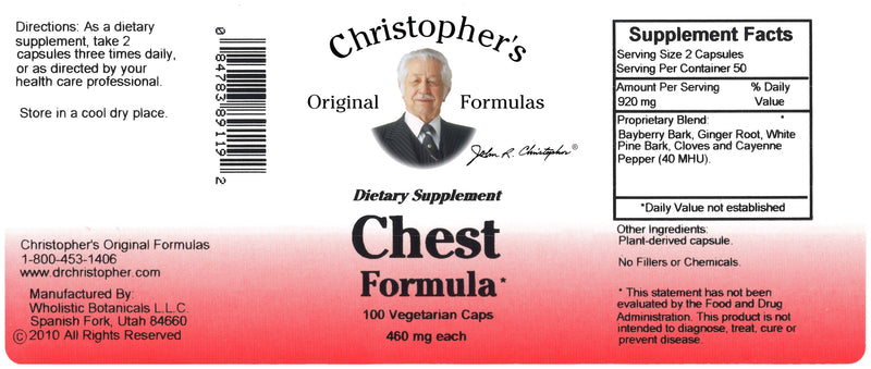 Chest Formula Capsule Label