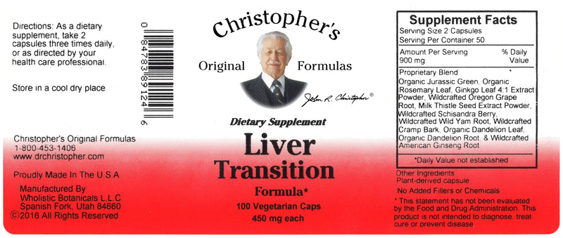 Liver Transition Formula Capsule Label