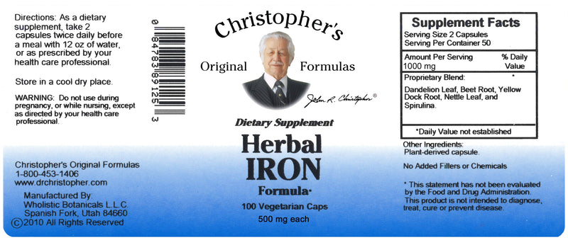 Herbal Iron Capsule Label