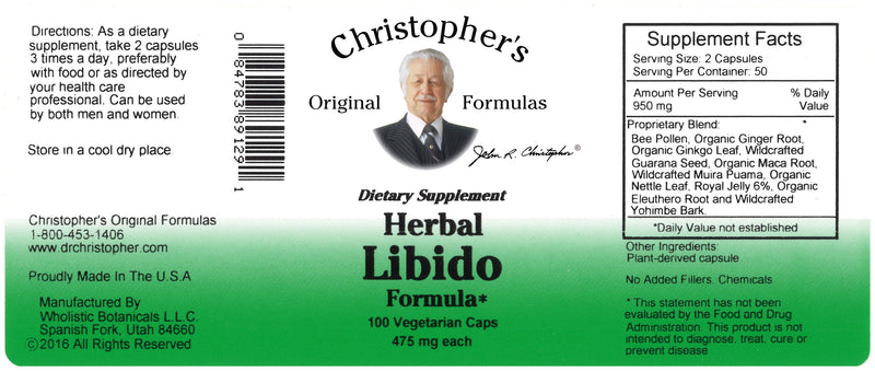Herbal Libido Capsule Label