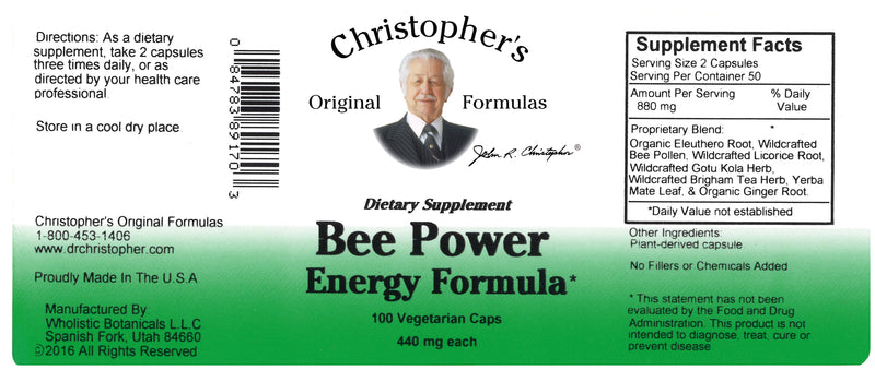 Bee Power Energy Capsule Label