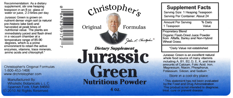 Jurassic Green Powder 4 oz. Label
