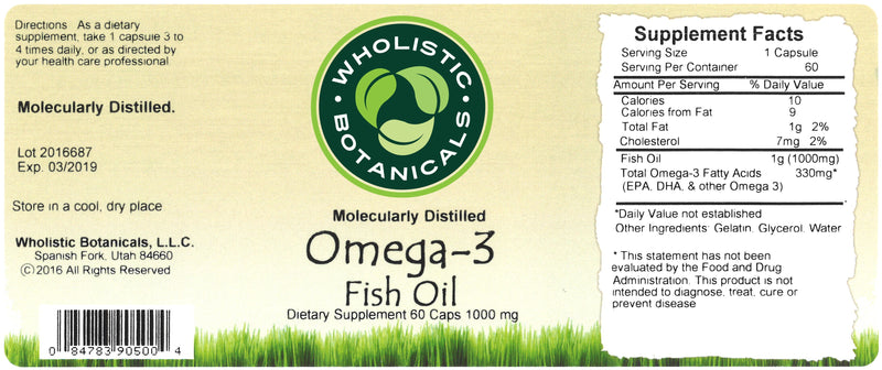 Omega-3 Fish Oil Capsule Label