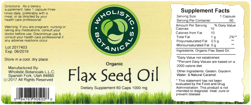 Flax Seed Oil Capsule Label