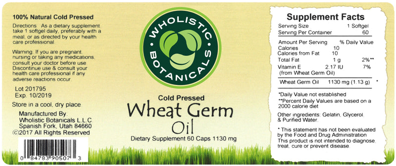 Wheat Germ Oil Capsule Label