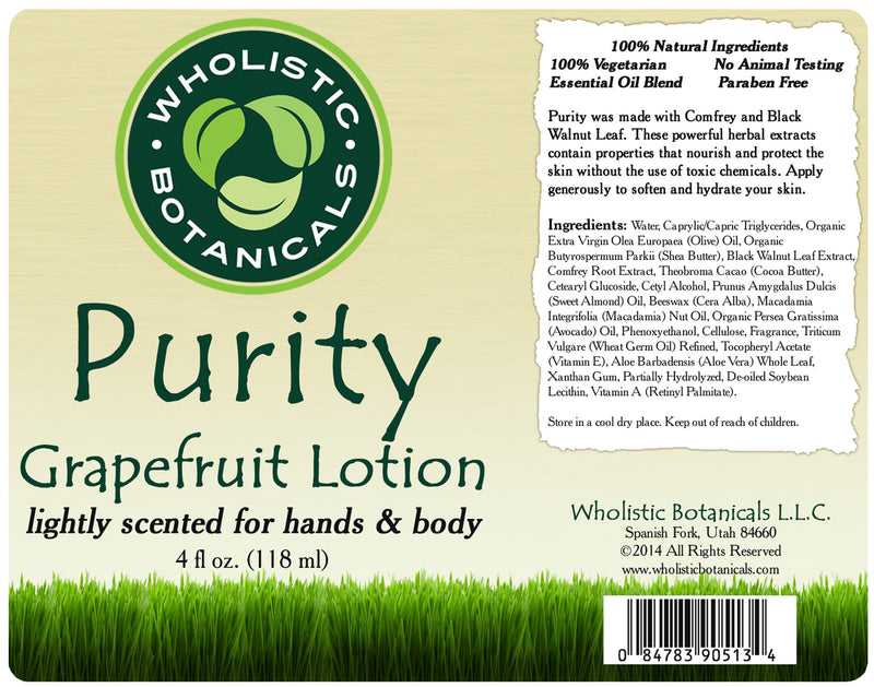 Purity Lotion Label