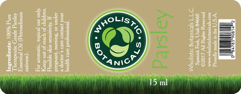 Parsley Essential Oil Label