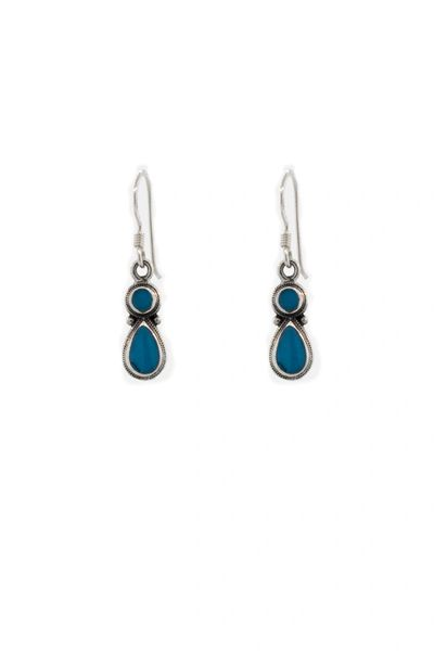 Blue Turquoise Earrings With Circle and Teardrop Design