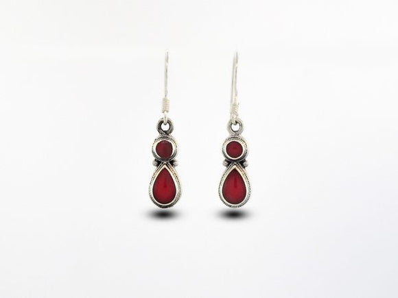 Coral Earrings With Circle and Teardrop Design