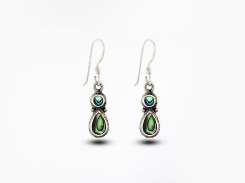 Abalone Earrings With Circle and Teardrop Design