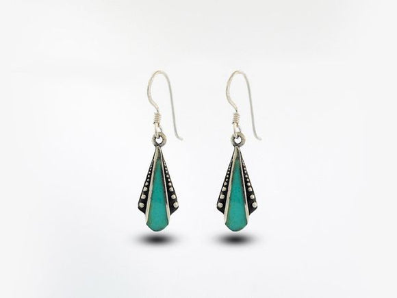 Turquoise Teardrop Shaped Bali Inspired Earrings