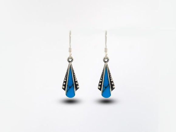 Blue Turquoise Teardrop Shaped Bali Inspired Earrings