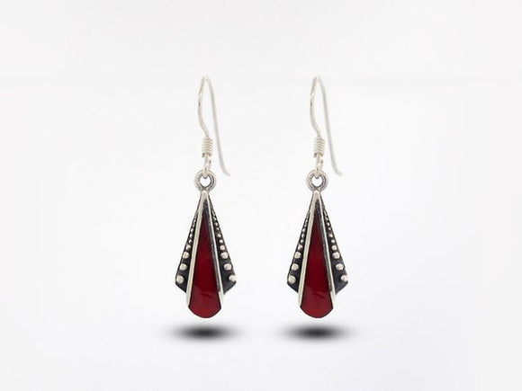 Coral Teardrop Shaped Bali Inspired Earrings