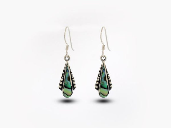 Abalone Teardrop Shaped Bali Inspired Earrings