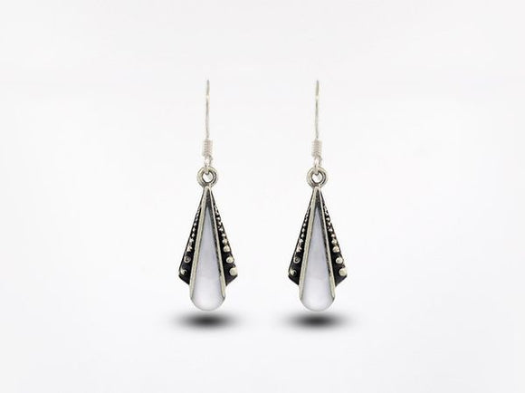 Mother of Pearl Teardrop Shaped Bali Inspired Earrings