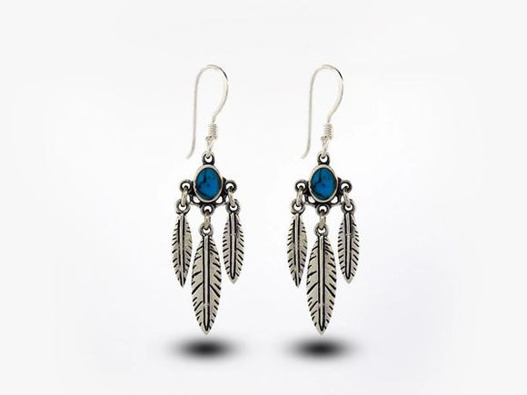 Western Inspired Earrings W/ Feather Dangles and Blue Turquoise